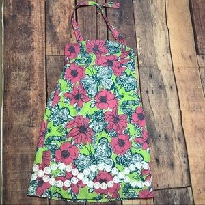 Lilly Pulitzer Girls Dress 8 Pink Butterfly Halter